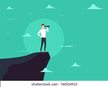 Vision concept in business with vector icon of businessman and telescope, monocular. Symbol leadership, strategy mission and objectives. Eps10 vector illustration.