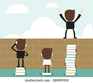 Vision concept - read book open vision,business man standing on stack of books