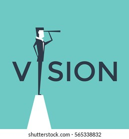 Vision concept vector illustration with business man looking through telescope from a cliff.