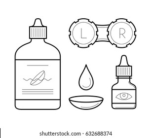 Vision correction equipment icons in thin line style. Ophthalmology medicine elements: contact lens case, bottle with wash liquid, artificial tears and drop. Vector outline isolated on white