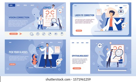Vision Correction, Laser Operation Surgery Technology, Spectacles Selection and Optical Eyes Test Procedure. Ophthalmologist and Patients. Trendy Flat Landing Page Set. Vector Illustration