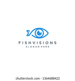 vision design logo or fish with eyes