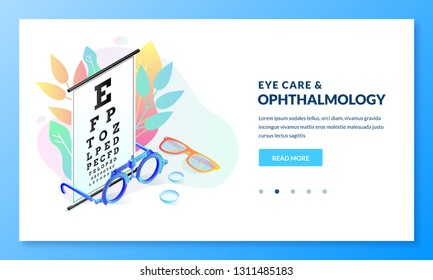 Vision diagnostics test concept. Ophthalmology exam and eye care vector isometric gradient illustration. Landing page banner design template for medicine and healthcare themes.