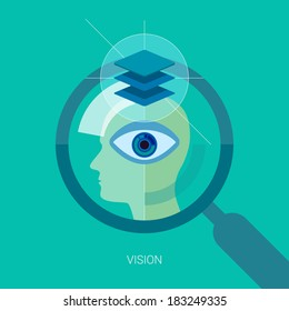 Vision flat design icon concept. Internet advertising business development, internet marketing research, consulting and graphic design. Web & mobile services vector illustration. Human head and eye.