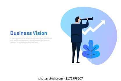 Vision and Growth concept. Businessman looks through a telescope on growth arrow. Business concept cartoon illustration banner