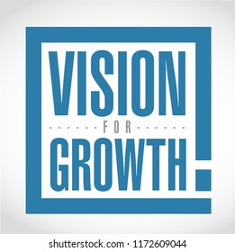 Vision for growth exclamation box message isolated over a white background