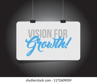 Vision for growth hanging banner message isolated over a black background