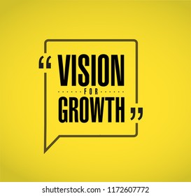 Vision for growth line quote message concept isolated over a yellow background