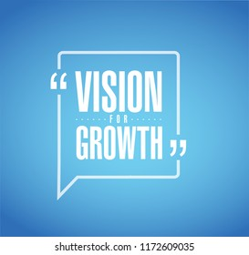 Vision for growth line quote message concept isolated over a blue background