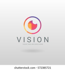 Vision logo. Colorful low poly camera logo template.