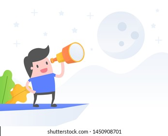 Vision,  mission To The Moon. Business Concept Vector Illustration.