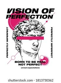Vision of Perfection slogan print design with david statue illustration