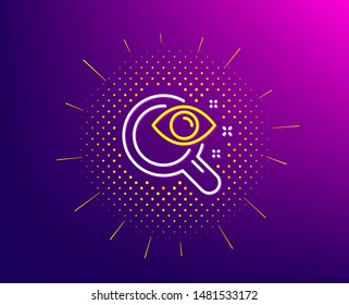 Vision test line icon. Halftone pattern. Eyesight check sign. Oculist clinic symbol. Gradient background. Vision test line icon. Yellow halftone pattern. Vector