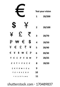 Vision test sight with currency symbols