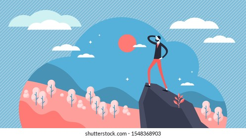Vision vector illustration. Flat tiny business direction knowledge persons concept. Smart and wise leader with company strategy visualization, solution and inspiration sight. Professional path target.