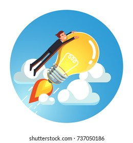 Visionary genius business man riding jet rocket lightbulb up into sky above clouds concept. Project based on great creative idea & growth metaphor. Flat vector isolated illustration.