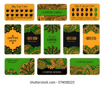 Visit card design set with loyalty program for coffee shops, tea houses and rooms in african style. Vertical, horizontal layouts.  EPS 10 vector template collection.