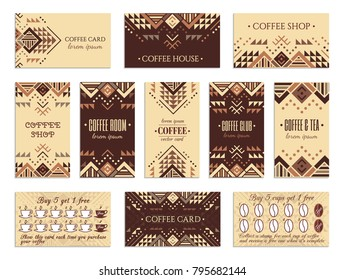 Visit card design set with loyalty program for coffee shops, tea houses and rooms in african style. Vertical, horizontal layouts. Ethnic design ornament. EPS 10 vector template collection.