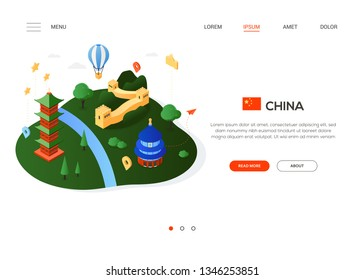 Visit China - modern colorful isometric web banner with copy space for text. Website header with famous Chinese landmarks, balloon, flag and map pointers. The Great Wall, pagoda, the Temple of Heaven