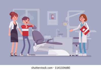 Visit to the dentist. Mother and son with dental fear, anxiety or phobia keep doctor appointment in hospital room or clinic. Medicine and healthcare concept. Vector flat style cartoon illustration