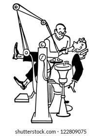 Visit To The Dentist - Retro Clipart Illustration