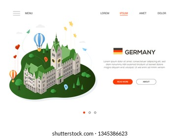 Visit Germany - modern colorful isometric web banner with copy space for text. Website header with famous landmark, balloons, hearts, stars, map pointers. Hamburg City Hall building. Traveling concept