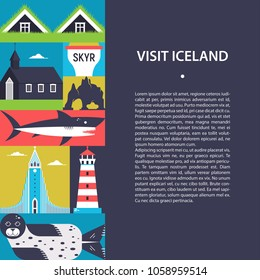 Visit Iceland- travel background with text area. Simple stylized illustration with icelandic symbols. Flat design for banners, posters, flayers, websites, postcards.