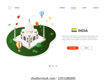 Visit India - modern colorful isometric web banner with copy space for text. Website header with famous landmark Taj Mahal, balloons, flag, social media symbols and map pointers. Traveling concept