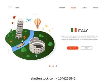 Visit Italy - modern colorful isometric web banner with copy space for text. Website header with famous Italian landmarks, balloon, plane and map pointers. Colosseum, Pisa tower, Venetian gondolier