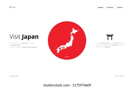 Visit Japan Landing Page UI UX Vector Illustration