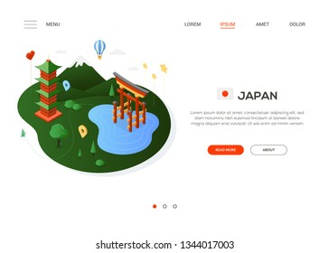 Visit Japan - modern colorful isometric web banner with copy space for text. Website header with famous Japanese landmarks, balloon, flag and map pointers. Pagoda, Torii, mount Fuji. Traveling concept