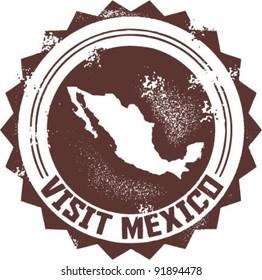 Visit Mexico Vintage Stamp