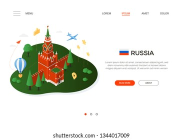 Visit Russia - modern colorful isometric web banner with copy space for text. Website header with famous Russian landmark, Moscow Kremlin, flag, balloon, plane and map pointer. Traveling concept