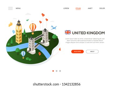Visit the United Kingdom - modern colorful isometric web banner with copy space for text. Website header with famous English landmarks, balloon, plane, map pointer. Tower bridge, Big ben, river Thames