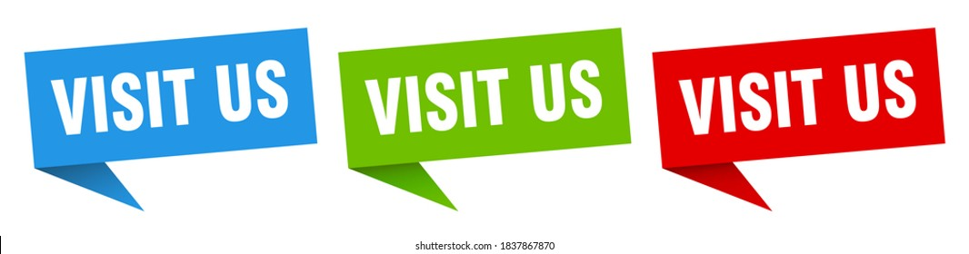 visit us banner sign. visit us speech bubble label set
