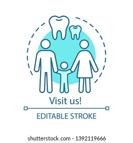 Visit us concept icon. Monitor oral health. Regular dentist visit. Dad, mom, baby, healthy teeth. Family dental clinic idea thin line illustration. Vector isolated outline drawing. Editable stroke