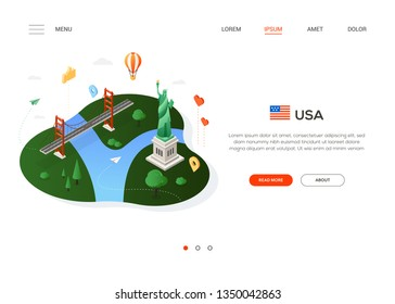 Visit the USA - modern colorful isometric web banner with copy space for text. Website header with famous landmarks, balloon and map pointers. Brooklyn bridge, Statue of Liberty. Traveling concept