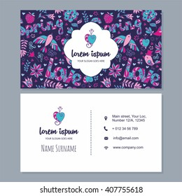 visiting card or business card set with cute hand drawn floral pattern and decorative logo. Best for corporate identity. Flyer template design.