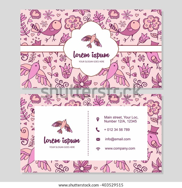 Visiting Card Business Card Set Cute Stock Vector (Royalty Free