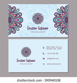 Visiting card and business card set with mandala design element logo. Abstract oriental design Layout. Front page and back page.