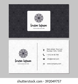 Visiting card and business card set with mandala design element logo. Abstract oriental  Layout. Front page and back page.