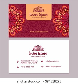Visiting card and business card set with mandala logo. Abstract design Layout with ottoman motifs. Front page and back page.