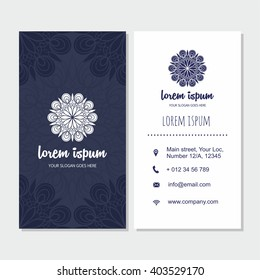 visiting card and business card set with mandala design element logo abstract oriental layout
