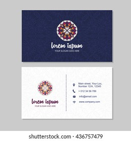 Visiting card and business card set with mandala pattern and simple logo. Abstract oriental design Layout. Front page and back page.