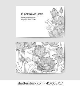 visiting card template with linear lotus flowers