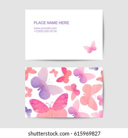 visiting card vector template with pink watercolor butterflies