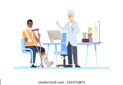 Visiting orthopedist doctor flat vector illustration. Surgeon, patient isolated cartoon characters on white background. Broken leg, arm, fracture. Crutch, plaster, bandage. Recovering after accident