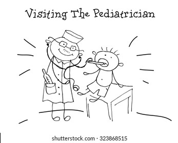 Visiting Pediatrician. Kids Health. Graphics sketch in vector.