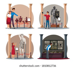 Visitor at ancient, antique, medieval history museum people scene isolated set. Vector man and woman character viewing exhibit object on stand. Knight, statue, archeology, vase and artifact exhibition