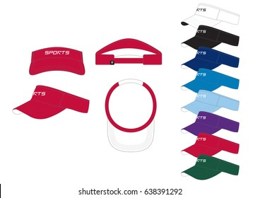 Visor Cap // front, back and side views with team wear colors
